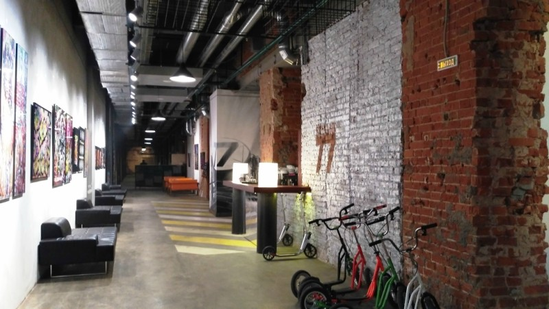 Urban escape room with a picture gallery and a bicycle stand