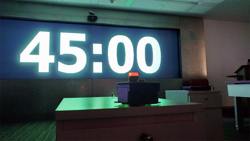 Electronic countdown in an escape room, the timer is set on 45 minutes