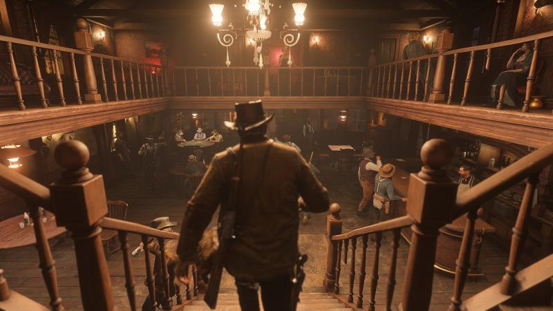 The scene in a computer game when the player enters the saloon