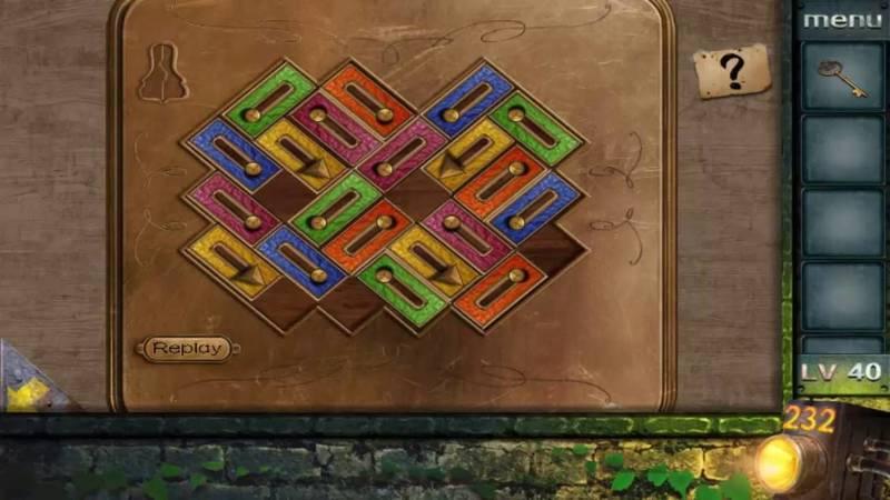 Escape room puzzles in a portative game